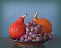 Tray with pupmkins and grapes Royalty Free Stock Images