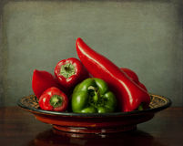 Tray with red and green peppers Stock Images