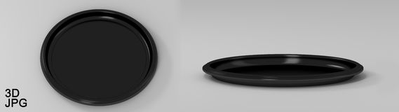 Tray round plastic black. Beautiful simple round tray of black plastic. 3d illustration Royalty Free Stock Image
