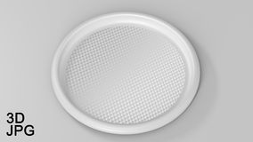 Tray round plastic white. Blank beautiful simple round empty tray of white plastic. 3d illustration. pattern of carbon Stock Photography