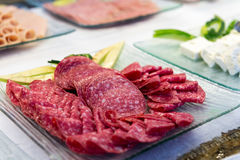 Tray with Salami Stock Image