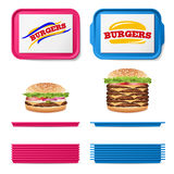Tray Salver Set Vector. Empty Plastic Rectangular Tray Salvers With Fast Food Realistic Burger. Top View. Advertising Stock Images