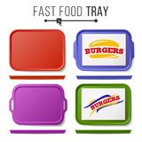 Tray Salver Set Vector. Empty Plastic Rectangular Tray Salvers. Top View. Advertising, Branding Concept. Tray Isolated Stock Photography