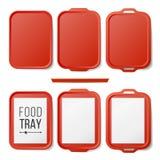 Tray Salver Set Vector plástico vacío Tray Salver With Handles plástico rojo rectangular Visión superior Bandeja aislada Fotos de archivo libres de regalías