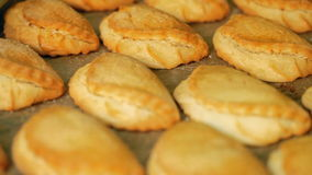 A tray with scones. Fragrant yellow pies are just from the oven stock video footage