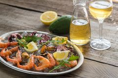 Tray with seafood Royalty Free Stock Images
