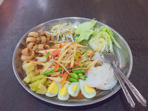 Tray of Som Tum. Som Tum-Very famous Thai style papaya salad and noodle with fully garnish Stock Images