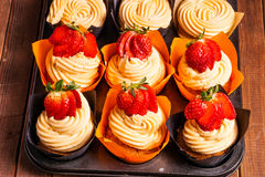 Tray of Strawberry cupcakes Royalty Free Stock Photography