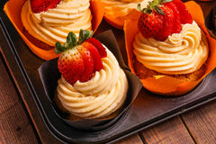 Tray of Strawberry cupcakes Royalty Free Stock Photo
