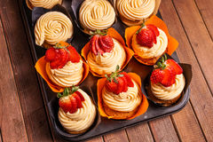 Tray of Strawberry cupcakes Stock Images