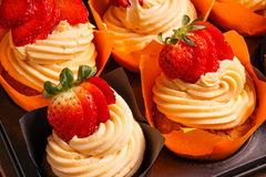 Tray of Strawberry cupcakes Stock Photography