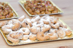 Tray with sugary donuts Stock Images
