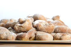 Tray of sugary Fritters Stock Photos