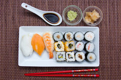 Tray with sushi on bamboo seen from above Stock Photos