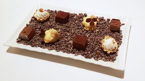 Tray of sweet chocolate desserts Stock Images