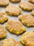 Tray of Sweet corn Fritters stock photos