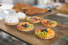 Tray of sweet pastry tarts Stock Photo