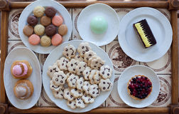 Tray with sweets. In the cafeteria Royalty Free Stock Images