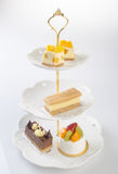 tray or three tier serving tray with dessert. Royalty Free Stock Photography