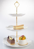 tray or three tier serving tray with dessert. Stock Images