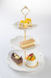 tray or three tier serving tray with dessert. Royalty Free Stock Image