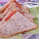 Tomato and ham sandwiches. Tray of tomato and ham sandwiches Stock Photos
