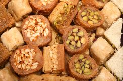 Tray of traditional Arabic sweets Royalty Free Stock Image