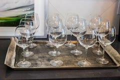 Tray Of Twelve Wine Glasses Arkivfoton