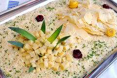 Tray with various types of cheese Stock Images