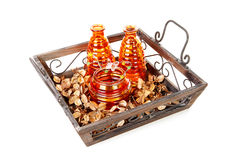 Tray with vases Royalty Free Stock Images