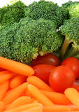 Tray of vegetables. Stock pictures of vegetables ready to be eaten in a tray Stock Photo