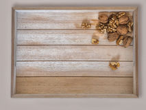 Tray with walnuts Royalty Free Stock Image
