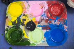 Tray of watercolour for children to learn painting.  stock images