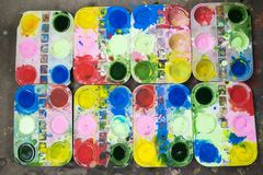 Tray of watercolour for children to learn painting.  royalty free stock photography