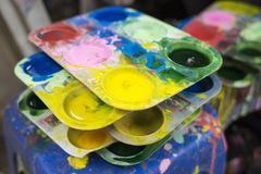 Tray of watercolour for children to learn painting.  stock photography