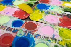 Tray of watercolour for children to learn painting.  royalty free stock image