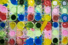 Tray of watercolour for children to learn painting.  royalty free stock photo