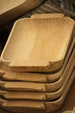 Tray wood made arrange in stack. Tray back wood made arrange in stack on display at a market Royalty Free Stock Image