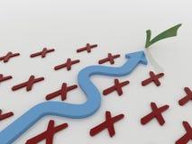 Trayectoria azul curvada de la flecha a la solución libre illustration