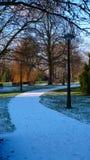 Trayectoria blanca de la nieve en parque Imagen de archivo