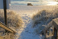 Trayectoria congelada a la playa Foto de archivo libre de regalías