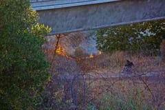 Trayectoria de la bici de California del incendio fuera de control Foto de archivo