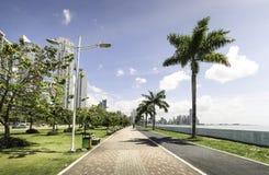 Trayectoria de la reconstrucción de la costa en ciudad de Panamá Fotos de archivo libres de regalías