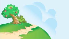 Trayectoria de los smallpeaks del appletree del manzano del arte del scenics del ejemplo del paisaje del arte del paisaje pequeña stock de ilustración