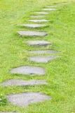 Trayectoria de piedra e hierba verde fotos de archivo