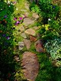 Trayectoria de piedra en el medio de las flores fotografía de archivo libre de regalías
