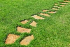 Trayectoria de piedra en la hierba verde Fotos de archivo libres de regalías