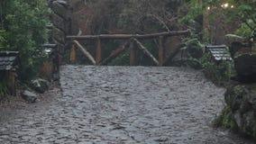 Trayectoria de piedra en la lluvia almacen de metraje de vídeo