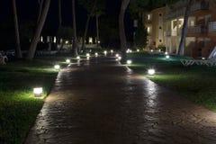 trayectoria de piedra en la noche Fotos de archivo libres de regalías