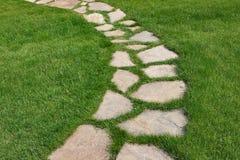 Trayectoria de piedra en un césped herboso verde Imagenes de archivo